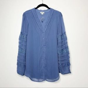 Sundance Long Sleeve Button Up Peasant Blouse
